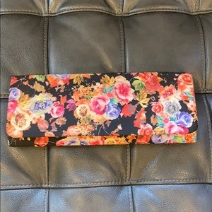 Lulu Townsend Floral Clutch Pink and Black